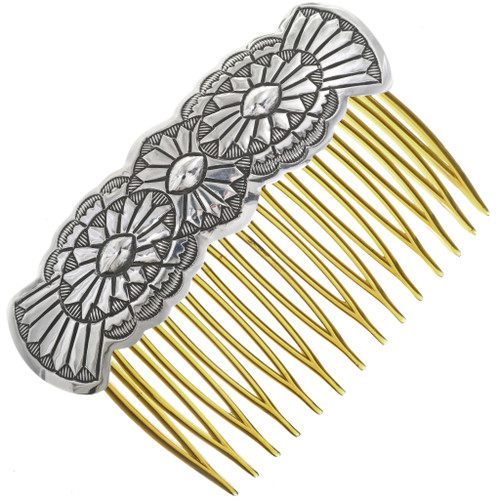 Navajo Hammered Repousse Silver Hair Comb 33076