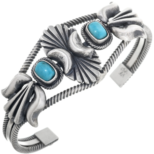 Genuine Turquoise Silver Bracelet 33078