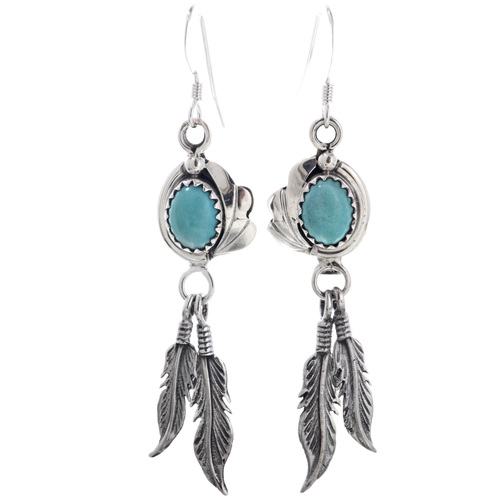 Navajo Turquoise Feathers Dangle Earrings 33079