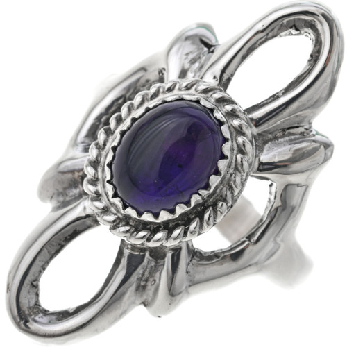 Amethyst Silver Old Pawn Style Ladies Ring 33082