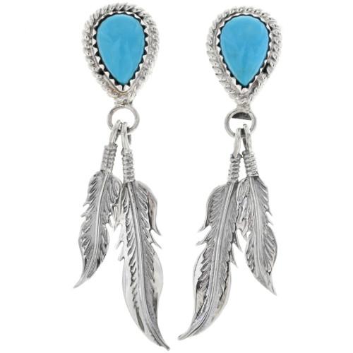 Turquoise Teardrop Silver Post Dangle Earrings 33085