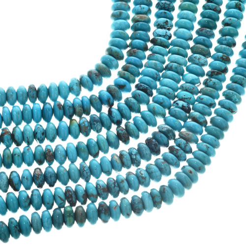Real Turquoise Rondelle Beads 31956
