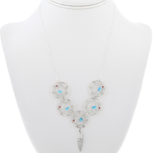 Turquoise Coral Dreamcatcher Necklace 33145