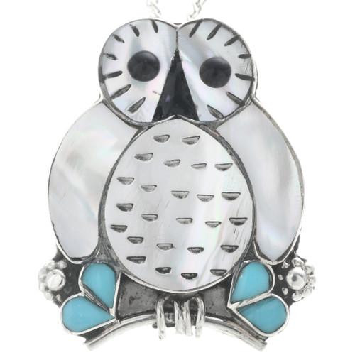 Zuni Inlay Owl Pendant 33149