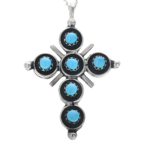 Zuni Turquoise Coral Reversible Cross Pendant 33156