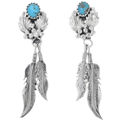 Turquoise Silver Feather Earrings 33161