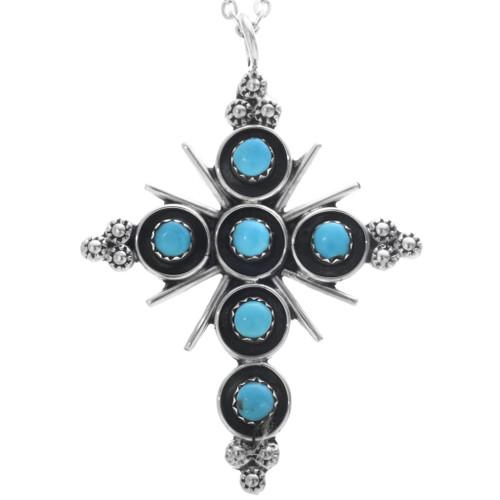 Native American Turquoise Cross Pendant 33168