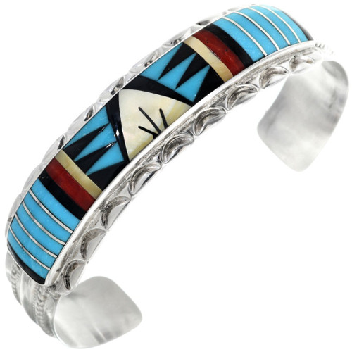 Inlaid Turquoise Silver Cuff Bracelet 33143