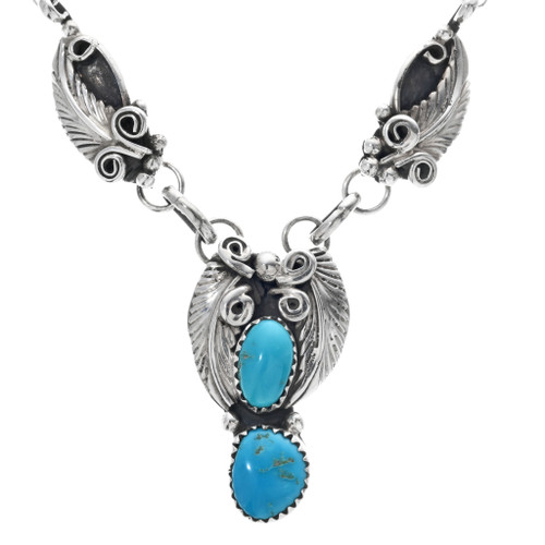 Navajo Turquoise Silver Ladies Necklace 33174