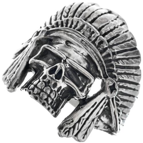 Indian Chief Headdress Skull Mens Ring 33190