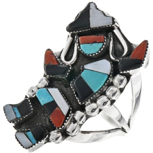 Vintage Inlaid Zuni Rainbow Man Ring 33197