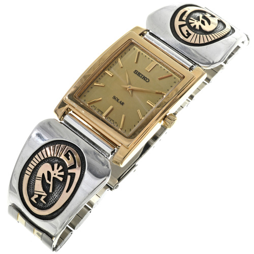 14K Gold Silver Old Pawn Kokopelli Watch 33200