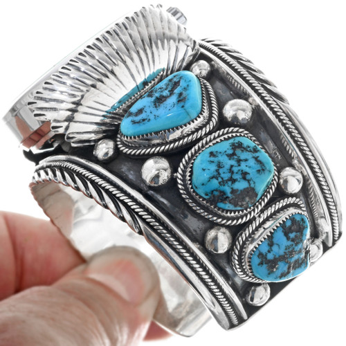 Turquoise Nugget Sterling Silver Watch Bracelet 33202