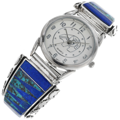 Vintage Sterling Silver Lapis Watch 33206