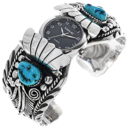 Sleeping Beauty Turquoise Vintage Watch Cuff 33216