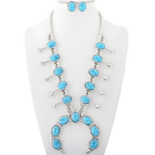 Navajo Turquoise Squash Blossom Necklace 28948