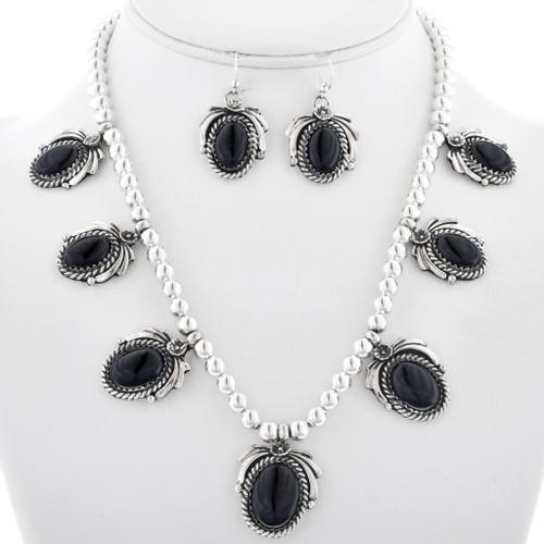 Black Onyx Necklace Earrings Set 27731