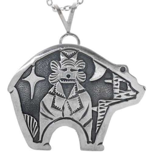 Silver Bear Silhouette Kachina Pendant 33267