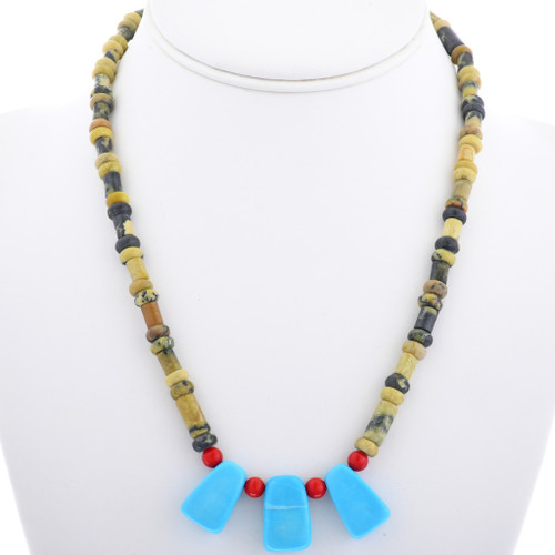 Navajo Turquoise Coral Beaded Necklace 33303