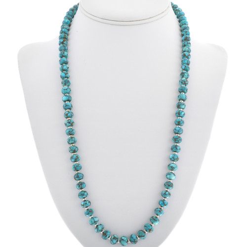 Native American Turquoise Silver Bead Necklace 33331