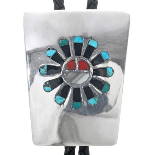 Vintage Zuni Sunface Bolo Tie 33345