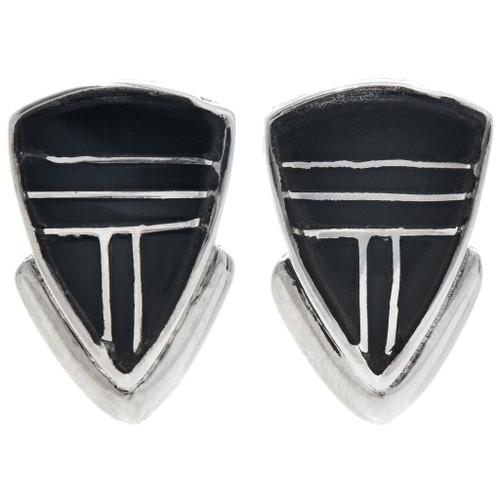 Handmade Jet Inlaid Post Earrings 33350