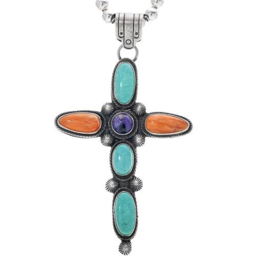 Vintage Turquoise Shell Silver Cross Pendant 33351