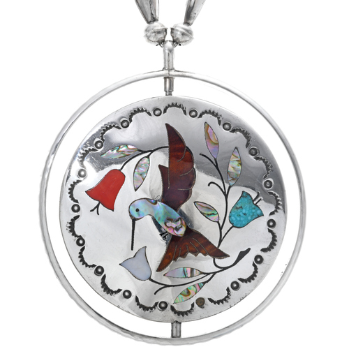 Vintage Inlaid Bird Pendant Necklace 33540