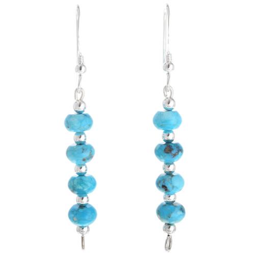 Navajo Turquoise Silver Bead Earrings 33545