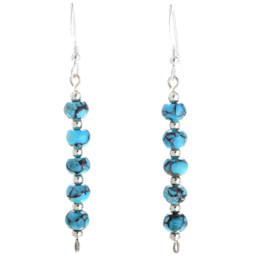 Turquoise Silver Navajo Earrings 33546
