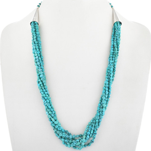 Navajo Turquoise Nugget Beaded Necklace 33551