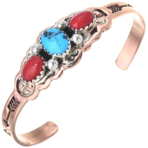 Turquoise Copper Navajo Baby Bracelet 33561