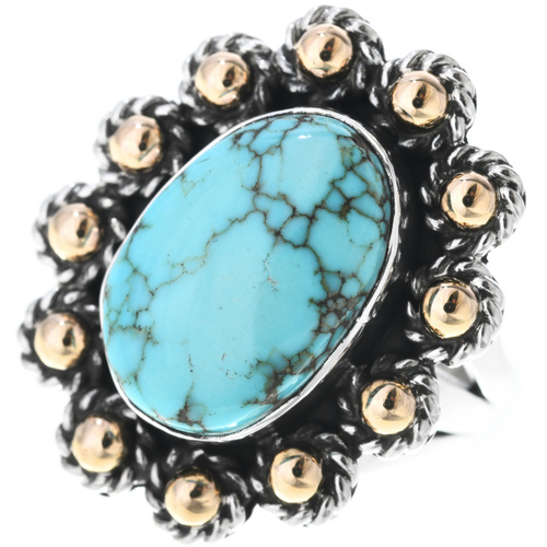 Vintage Ladies Turquoise Gold Ring 33565