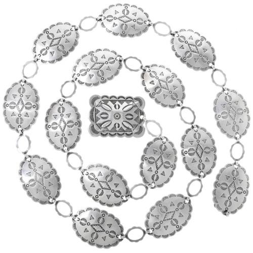 Vintage Sterling Silver Link Concho Belt 33572