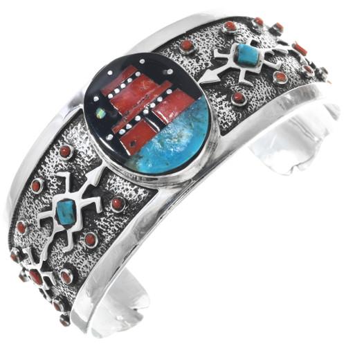 Vintage Inlaid Pueblo Design Sterling Silver Bracelet 33580