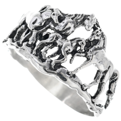 Sterling Silver Navajo Horse Ring 33584