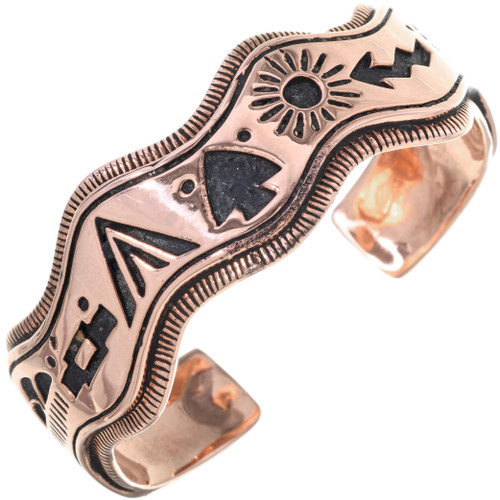 Navajo Storyteller Overlaid Copper Cuff Curved Edge Bracelet 33601