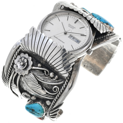 Vintage Turquoise Coral Watch Cuff 33624