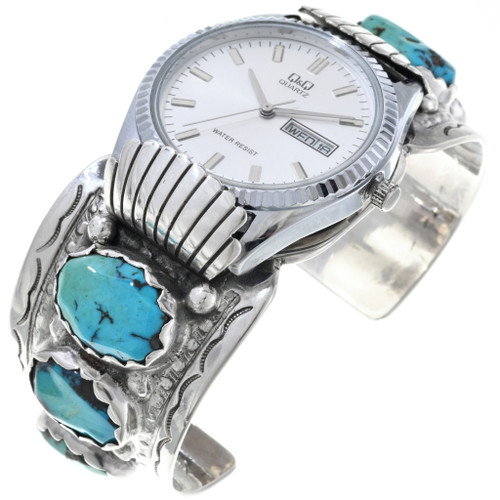 Old Pawn Turquoise Silver Watch Cuff 33627