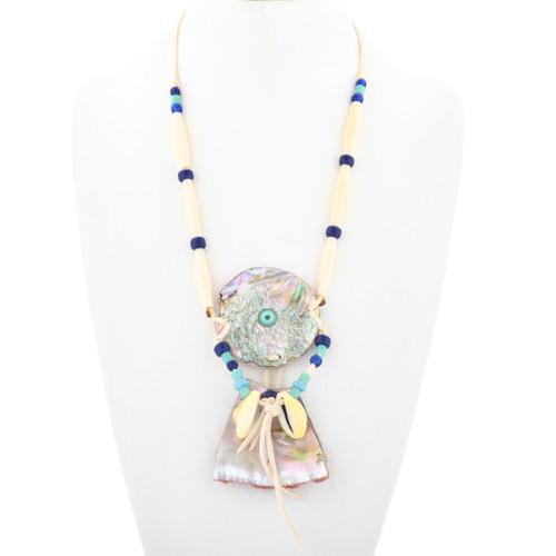 Vintage Pueblo Shell Bone Necklace 33631