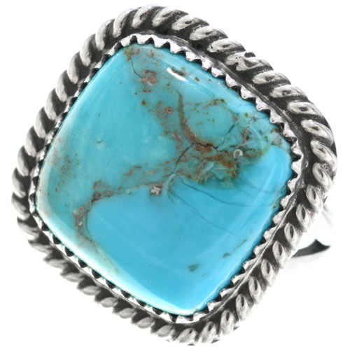 Navajo Turquoise Single Stone Silver Ladies Ring 33636