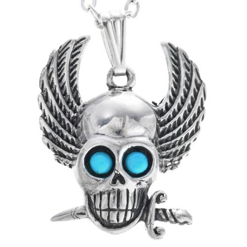 Navajo Sterling Silver Winged Skull Pendant 33689