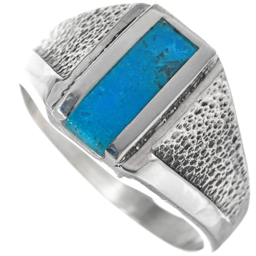 Mens Turquoise Silver Navajo Ring 33818