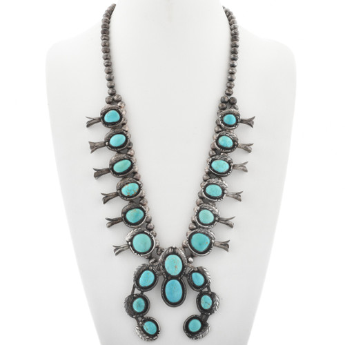 Old Pawn Turquoise Squash Blossom Necklace 33821