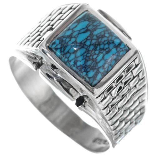 Navajo Spiderweb Turquoise Mens Ring 33837