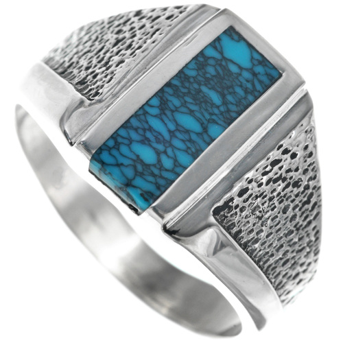 Spiderweb Turquoise Inlay Ring 33838