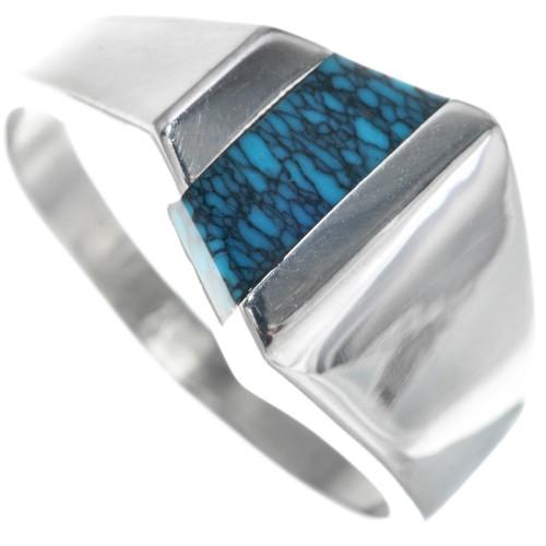 Navajo Blue Spiderweb Turquoise Ring 33841