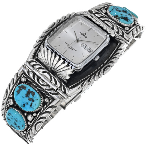 Old Pawn Turquoise Silver Watch 33626