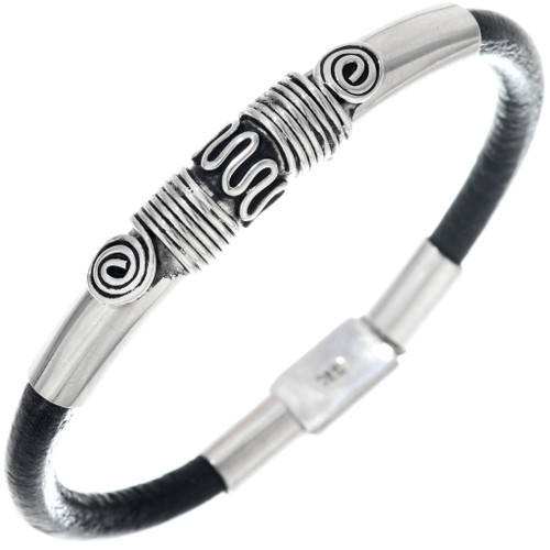Unisex Silver Leather Bracelet 33859
