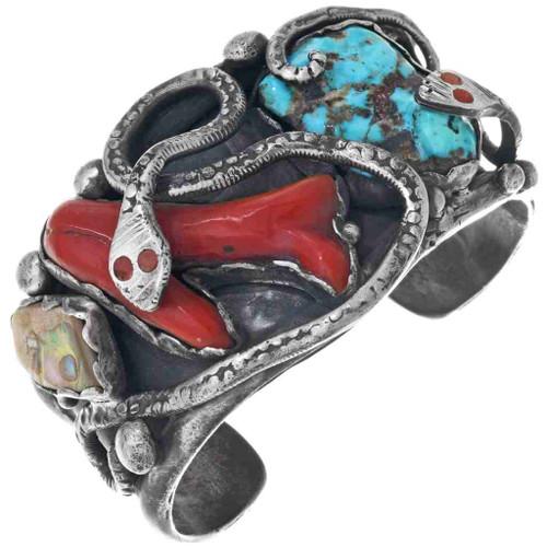 Old Pawn Zuni Turquoise Coral Bracelet 33865